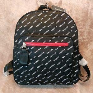 NAUTICA Black &White Bookbag With Red Accent